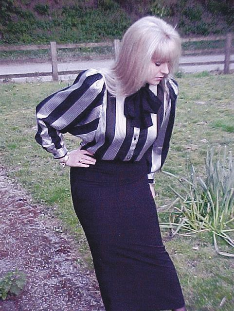 Black And White Satin Blouse And Long Tight Pencil Skirt