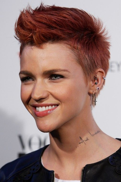 Ruby Rose Red Pompadour Hairstyle for Short Hair