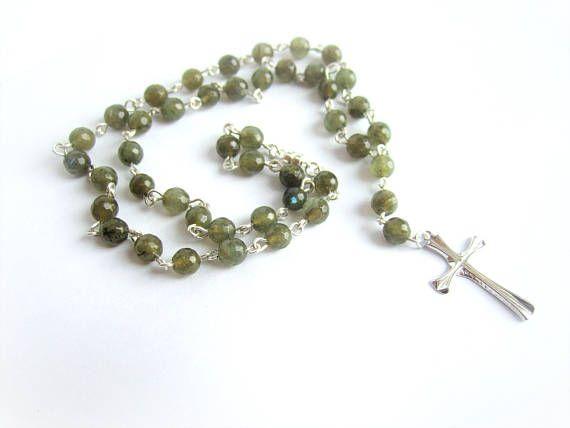 Men sterling silver cross necklace men labradorite necklace