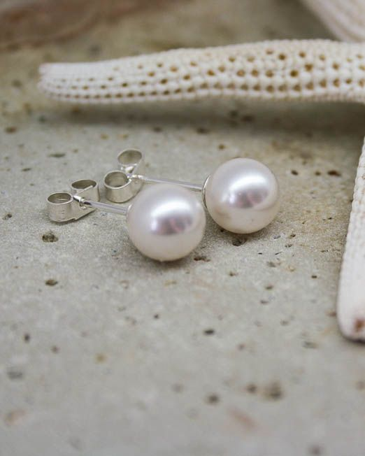 Classic swarovski pearl studs on good quality sterling silver posts and silver butterflies.  Available in two sizes: 6mm and 8mm.   #Bridal #Earrings #HandmadeJewellery #Pearl #Silver #Starboard #Wedding