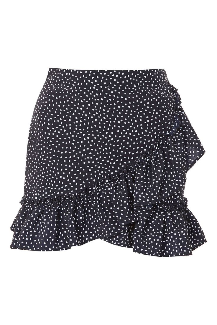 Black spot ruffle skirt