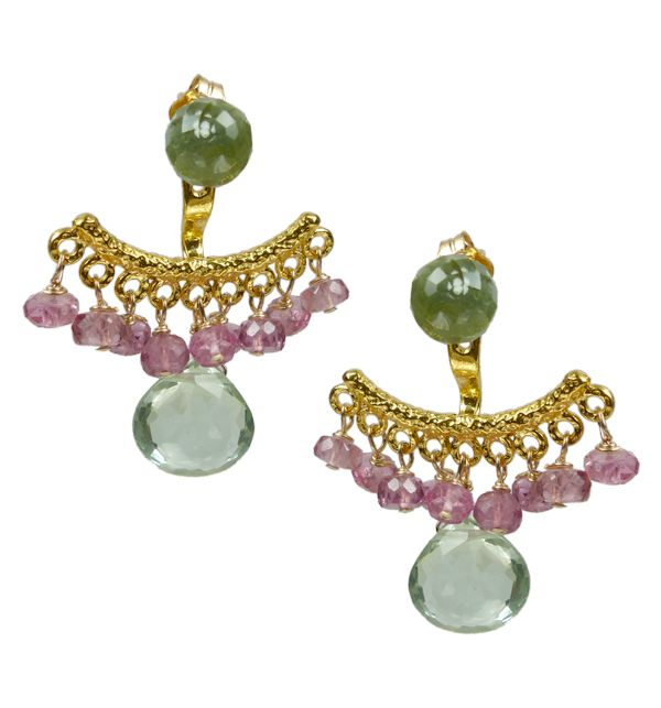 Mounir's earring jackets, the latest trend in earrings, will give an elegant edge to your look. This pair of stud earrings comes in 22ct yellow gold vermeil silver and has a cluster of Pink Tourmaline beads and Green Amethyst faceted stones. The back of the earrings is adjustable. Retailing at £145 http://www.mounir.co.uk/index.php?route=product/product&path=60_113&product_id=1985&limit=100 #earringjackets #backtofront #earrings #adjustableearrings #greenamethyst
