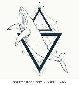 Whale tattoo geometric style. Travel, adventure, outdoors symbol marine. Creativ… – Whales Tattoo