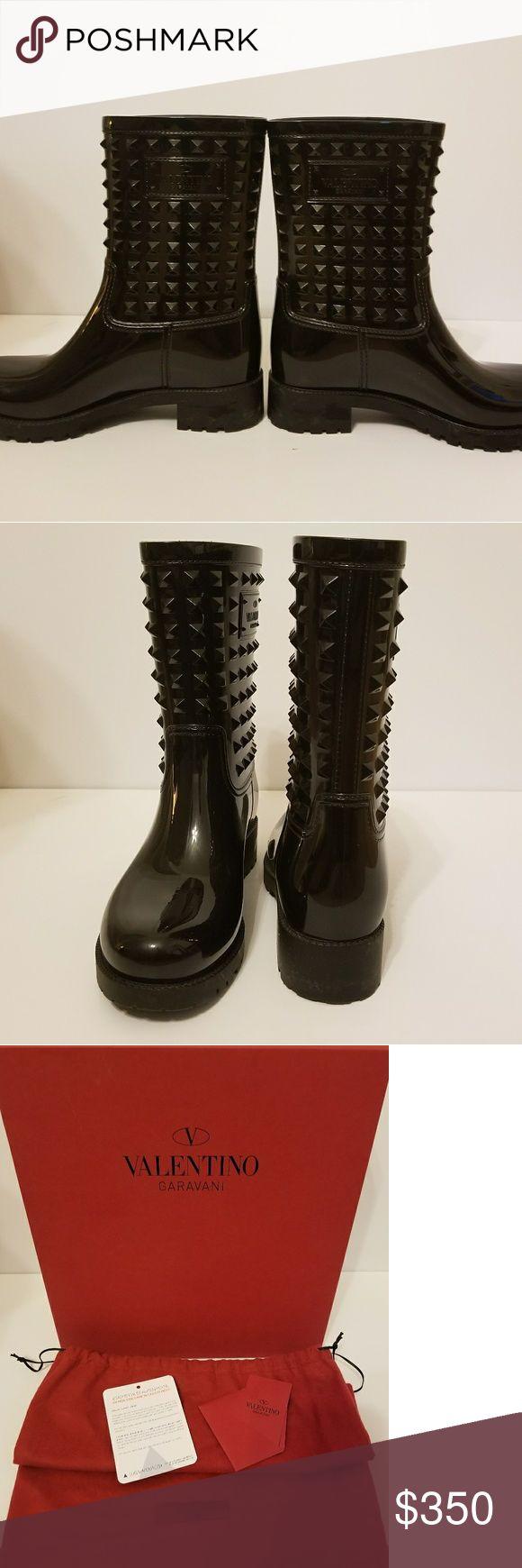 Valentino Rain Boot Authentic Valentino Rockstud Rain Boot in original packaging. Worn once EUC Valentino Shoes Winter & Rain Boots