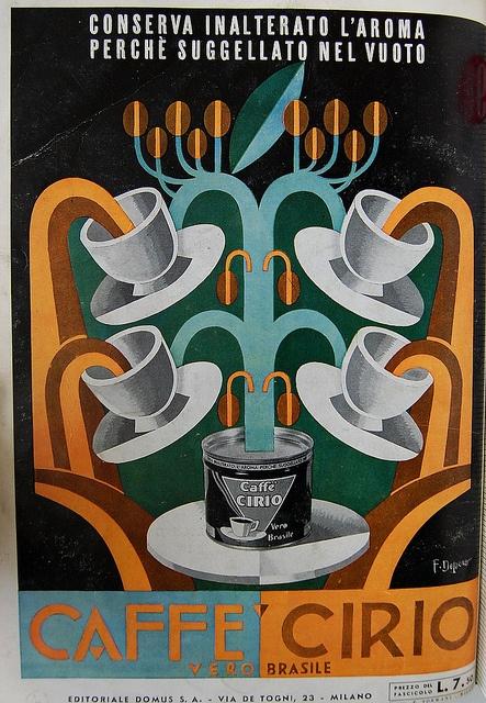 Caffe Cirio advertisement in designed by Fortunato Depero in Domus 97 1936.