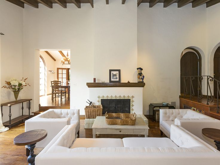 This gorgeous Spanish home features oak hardwood and tiled floors, coves and arches with beamed ceilings and a fireplace. 568 Dryad Rd | Santa Monica Canyon