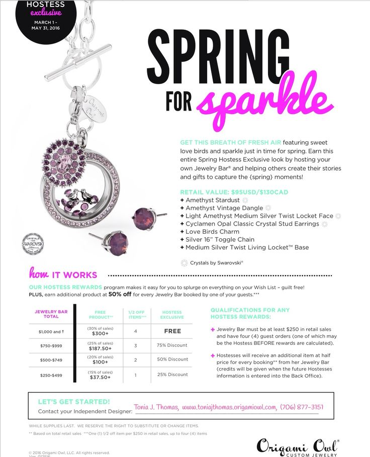 Origami Owl Hostess Rewards May 2015