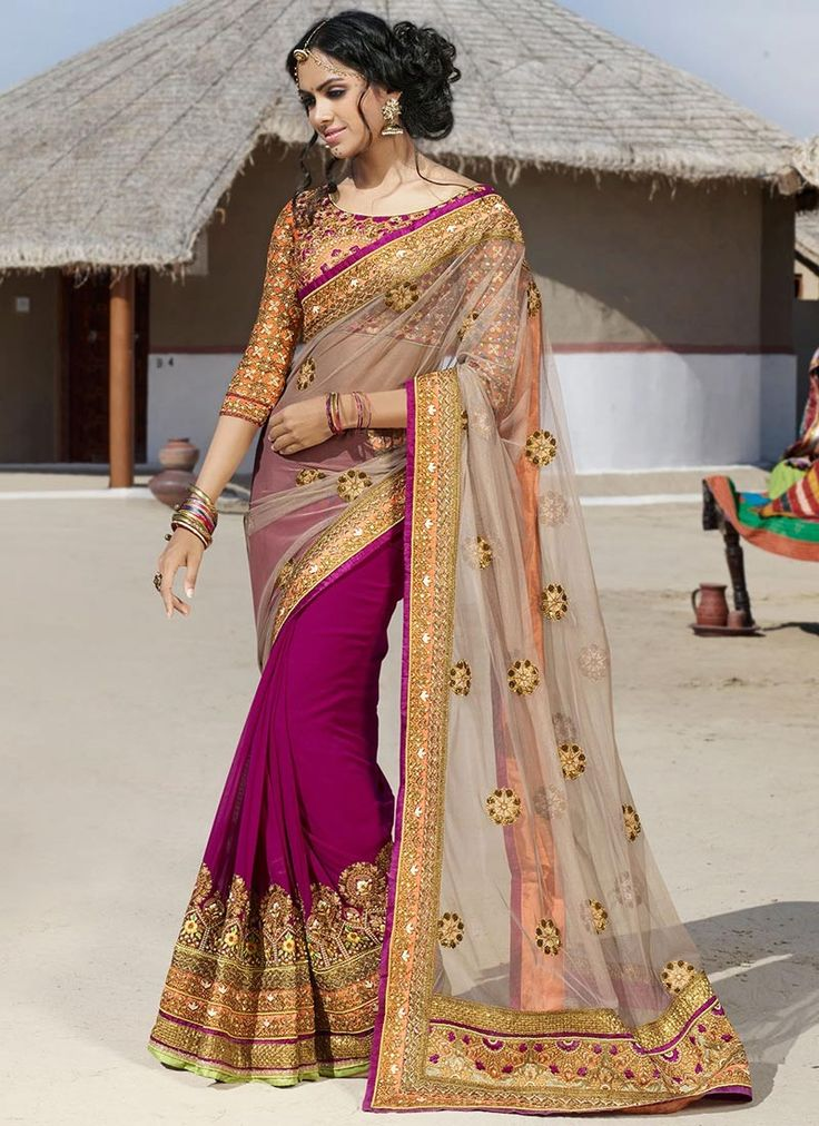 Splendid georgette and net saree.