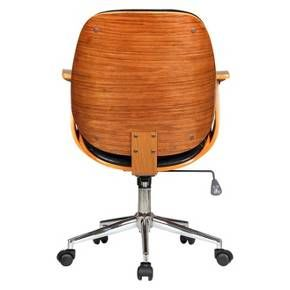 A Rigdom Adjustable Office Chair is exactly what you need to liven up your workspace. Oh, and you'll want to be more productive too, right? It'll be a snap in this sleek, comfortable black and brown desk chair. With an adjustable cushioned leather-look seat and back, a couple of armrests, and a nifty pneumatic lever right below the seat for easy height modification, work'll be a breeze. A shiny chrome base and 5-star rolling casters complete the overall appeal of this ...