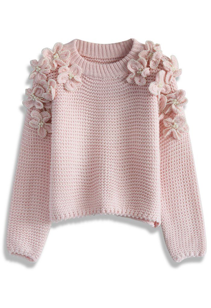 My Flowers and Pearls Sweater in Pink - Retro, Indie and Unique Fashion