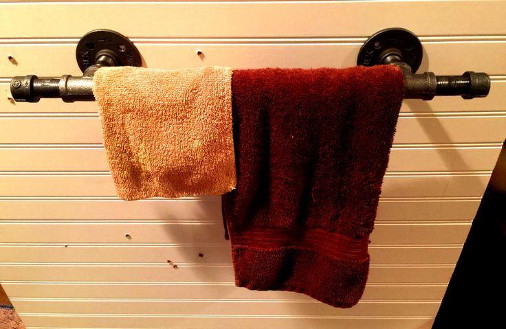"Industrial Black Pipe Towel Bar,Towel Rack, Grab Bar, ""DIY"" Kit- Available in 12"" up to 48"" Long Bar by PipeLineDesignStudio on Etsy"