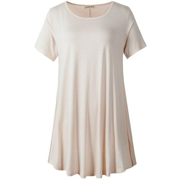 LARACE Women Short Sleeves Flare Tunic Tops for Leggings Flowy Shirt... ($9.99) ❤ liked on Polyvore featuring tops, tunics, short sleeve shirts, shirt top, shirt tunic, white tunic and flared top