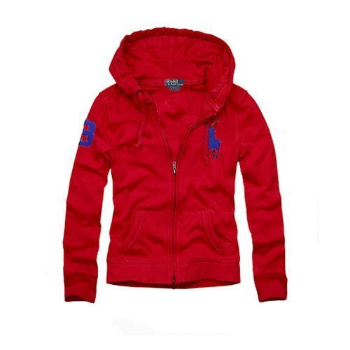 Polo Ralph Lauren Womens Big Pony Pullover Hoodie Red under $ 60.00