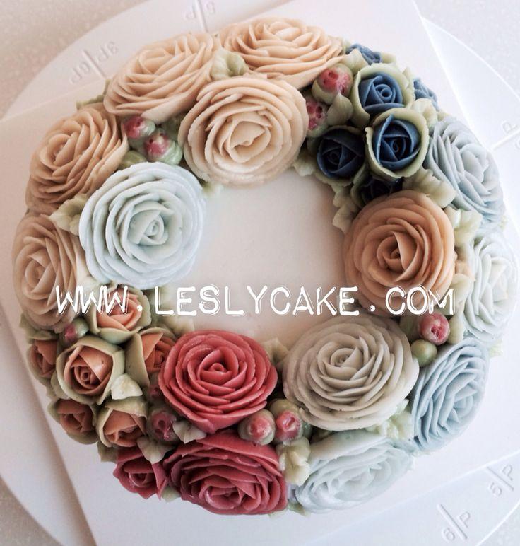 #buttercream#flowercake#cake#leslycake www.leslycake.com