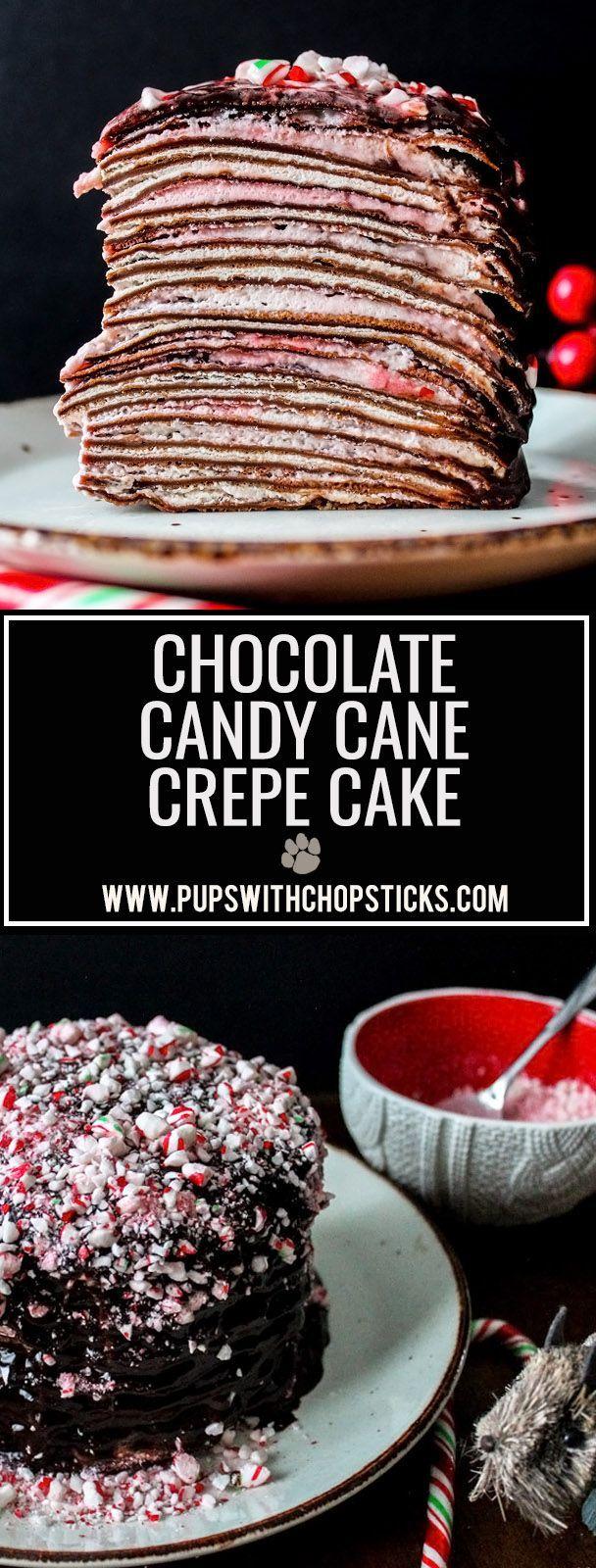 Chocolate Candy Cane Crepe Cake