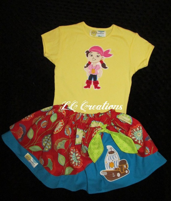 Izzy Pirate Peek a Boo Skirt and Yellow Shirt