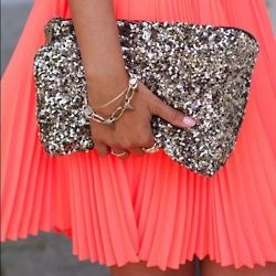: Handbags, Style, Bright Color, Clutches, Neon, Sequins, Glitter, Coral Skirts, Pleated Skirts