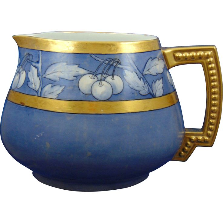 Jean Pouyat (JP) Limoges Arts & Crafts Blue Cherry Motif Cider Pitcher from darkflowers on Ruby Lane
