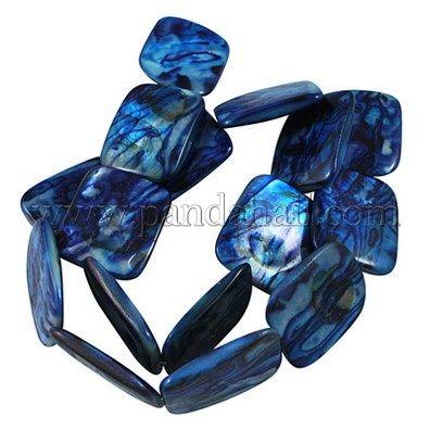 Ручной печатный стеклянные бусы нити, прямоугольник, синий, около 25 мм длиной, 20 мм шириной, 4 мм, отверстия: 0.5 мм, 16 шт / нитка