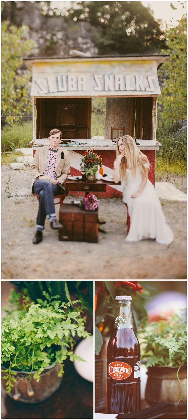 Vintage trunk, red Bentwood chairs & misc decor all Fete & Riot. Photos: Marrow