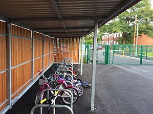 Coleshill and Fordbridge Primary Schools, Case Study. Installation of Buggy Shelter, Cycle Storage, Recycling Bins and traffic control products.