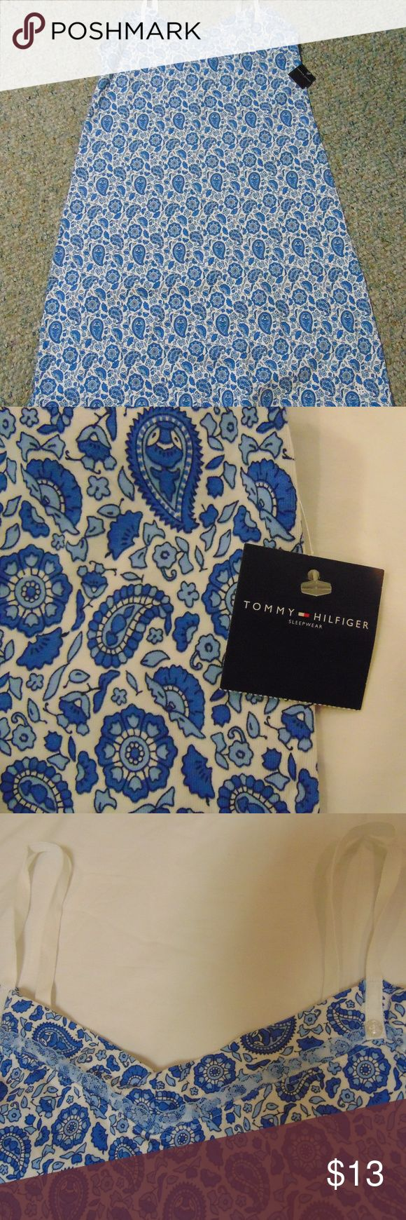 """Tommy Hilfiger women's nightie New with tags!  Love this pretty print - shades of blue with white adjustable straps.  91% cotton/9% spandex.  15.5"""" from armpit to armpit.  From a smoke free home.  Thanks for browsing! :) Tommy Hilfiger Intimates & Sleepwear Pajamas"""