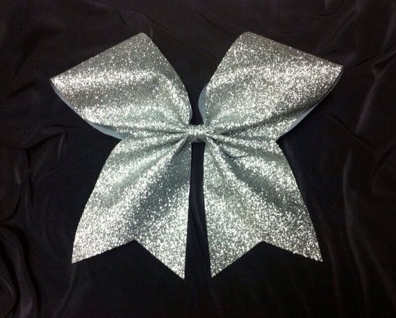 Silver Glitter Cheer bow/Glittery cheer bow/Bling Cheer /3 inch base ribbon/ Silver Sparkle cheer bow/ softball bow