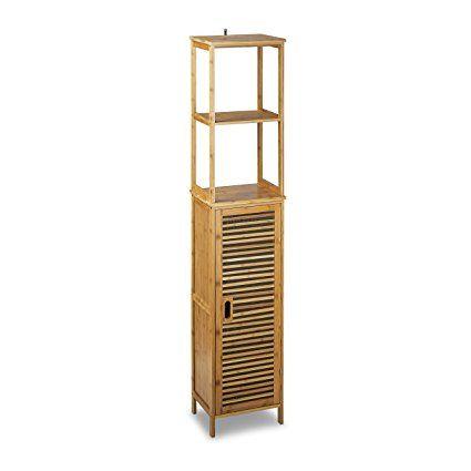 Relaxdays Armoire de salle de bain étagère rangement avec porte 2 tablettes réglables en bois de bambou colonne avec 6 étages HxlxP: 170 x 33,5 x 28 cm pour serviettes accessoires de douche, nature