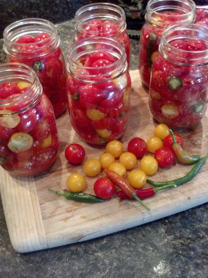 Pickled Cherry Tomatoes (My husband likes them all green)
