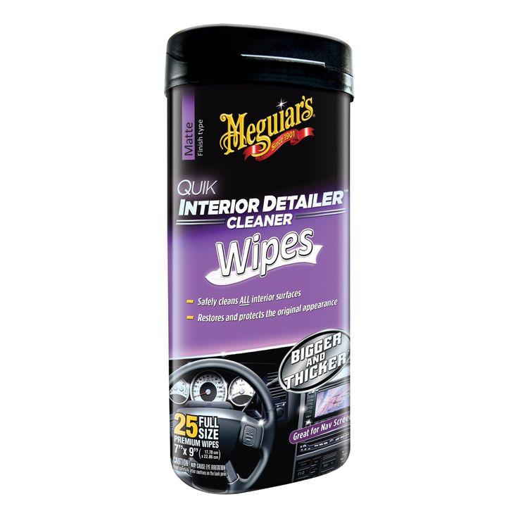 Meguiars Quik Interior Detailer Wipes fjerner effektivt støv, skitt, flekker og fingeravtrykk av av all innvendig plast, metall, gummi, lær, vinyl, stereo..