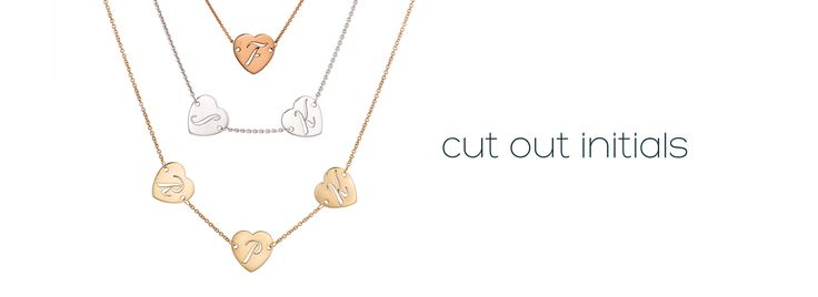 Cut Out Initials by me∙mi. Choose between 1, 2, or 3 cut out initials (each on a separate heart). Available in silver, 9kt yellow gold or 9kt rose gold.