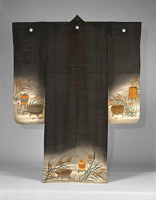 Summer Kimono with Crickets, Grasshoppers, Cricket Cage and Miscanthus Grass. Period: Meiji period (1868–1912). Culture: Japan. Medium: Resist-dyed and painted silk gauze, embroidered. Dimensions: 65 x 50 in. (165.1 x 127 cm).