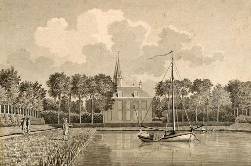 Een speeljacht ligt in het bassin van de vijver van het slot Ter Hooge, Middelburg. Tekening van Jan Arends, 1785 (ZA/KZGW/ZI)