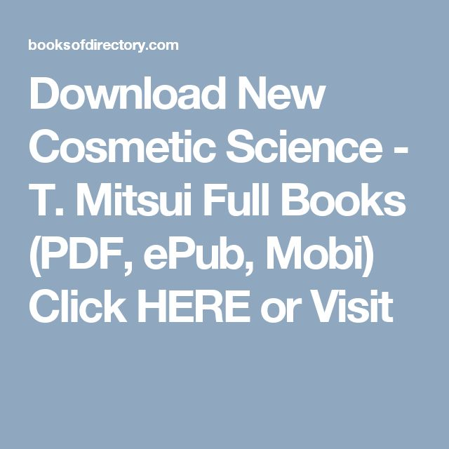Download New Cosmetic Science - T. Mitsui Full Books (PDF, ePub, Mobi) Click HERE or Visit