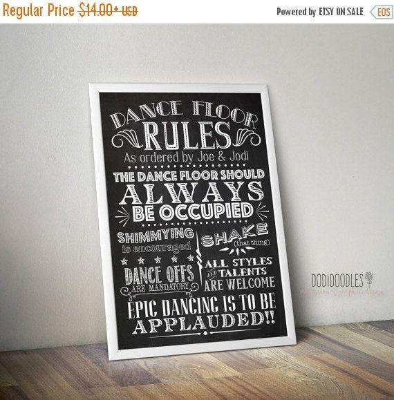 70% CLEARANCE THRU 7/30 Printable Custom Wedding Sign, Dance Floor Rules Chalkboard, Vintage diy Dance Floor Party Sign, printable wedding s