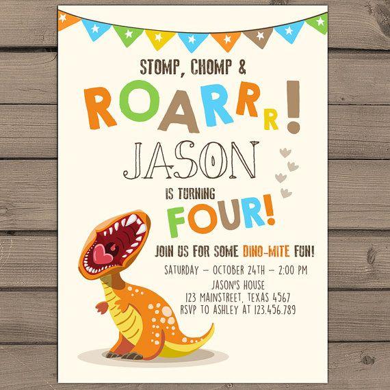 Dinosaurio cumpleaños invitación dinosaurio por Anietillustration