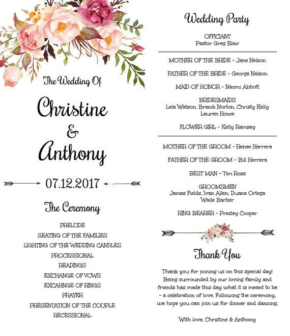 Floral böhmischen Hochzeit Programmvorlage von YouPrintEm auf Etsy