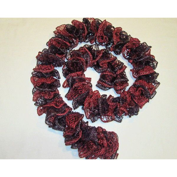 Ruffle Scarf, Trendy Twirly Scarf, Burgundy and Dark Plum Scarf,... (25 CAD) ❤ liked on Polyvore featuring accessories, scarves, ruffled scarves, sparkly scarves, ruffle scarf, silver scarves and burgundy scarves