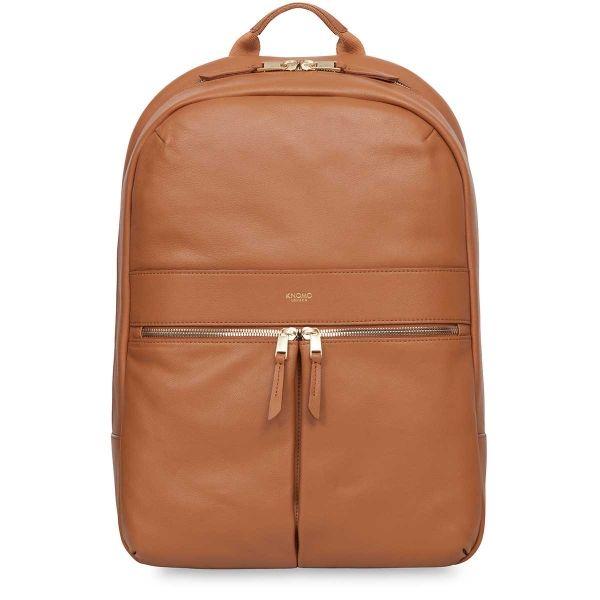 Beaux Women's Leather Laptop Backpack - Caramel| KNOMO