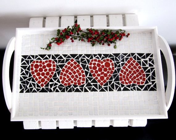 Heart  Tray  Serving Tray Mosaic Tray Red Tray by byGuls on Etsy                                                                                                                                                                                 More