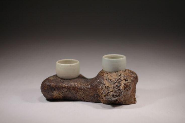 Found stoneware, porcelain, wood fired, Daniel Cavey