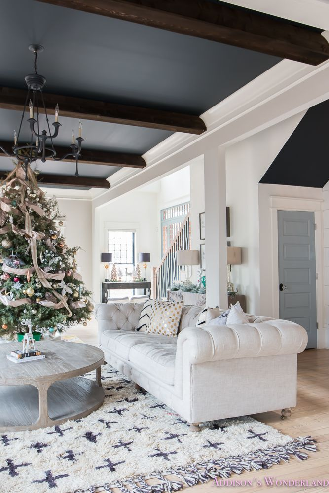 Our vintage Holiday Christmas Home Tour featuring black ceilings, dark wood beams, tufted sofa and chic accessories from HomeGoods! Sponsored by HomeGoods.