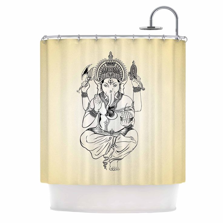 "Kess InHouse Kess Original ""Golden Ganesha"" Gold Elephant Shower Curtain"