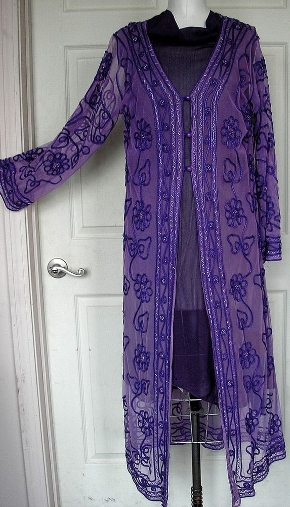NWT Adini Ribbon& Bead Net Dressy Duster/Coat  Size XL  #adini #BasicCoat
