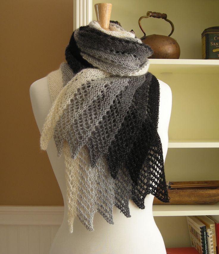 Lace Scarf Knitting Pattern PDF Mistral Scarf French inspired gradient rectangle lace scarf wrap cowl stole easy pattern no charts – Jacqueline Kreutzer