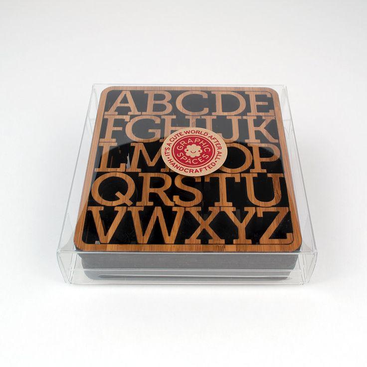 Bamboo Alphabet Coasters: Modern Typography Wood Coasters (Set of 4). $38.00, via Etsy.