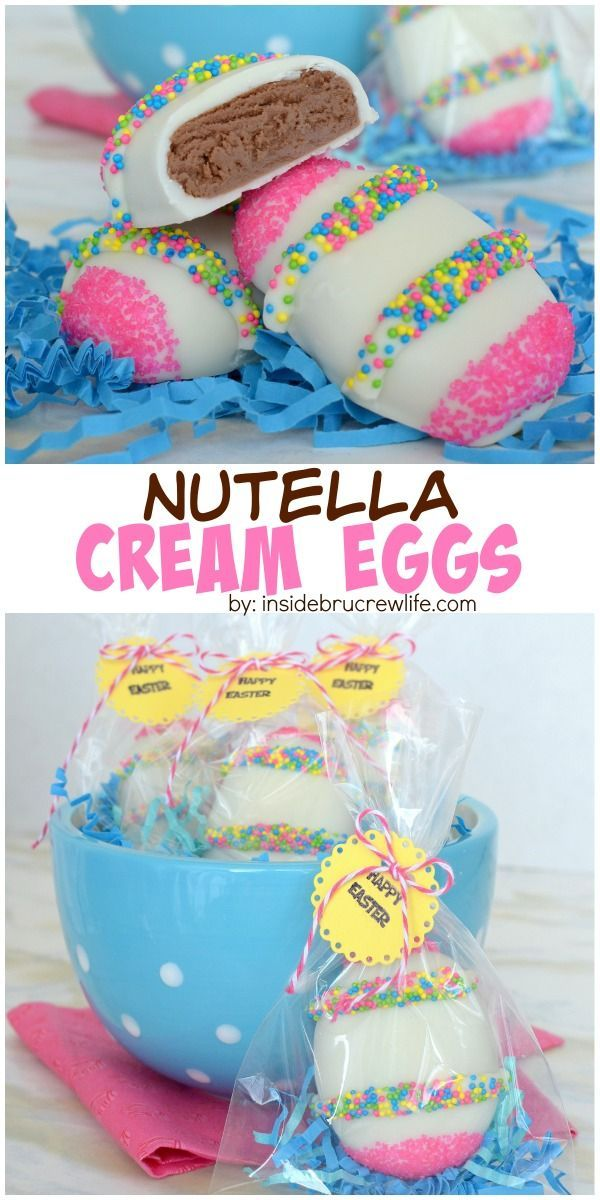 These fun Nutella cream eggs are dipped in white chocolate and decorated with sprinkles. They make an adorable treat for Easter baskets.