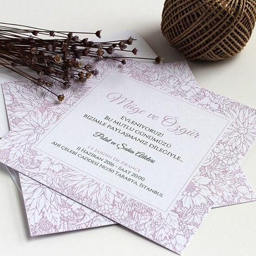 Lavanta Rengi Şık düğün davetiyesi Tasarım: © Dört Köşe Davetiye