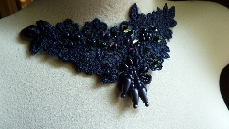 Smokey Midnight Blue Venise Lace Applique with Beadwork for Altered Couture, Jewelry or Costume Design CA 755. $3.50, via Etsy.