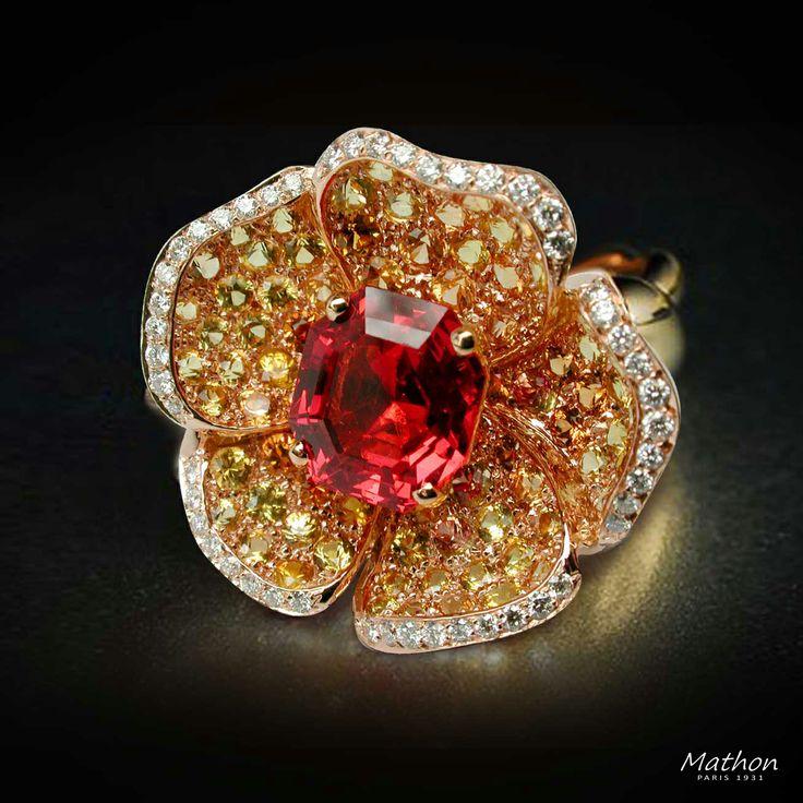 Spinel flower ring / Mathon Paris: